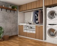 wooden design bathroom,wood themed tiles,walls and floors in laundry room,laundry room design tips,colorful tiles for bathroom,