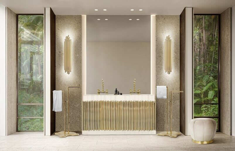 brass and marble washstand,luxury brass towel rack for bathroom,luxury white and gold bathroom,marble top bathroom furniture,luxury marble bathroom designs,