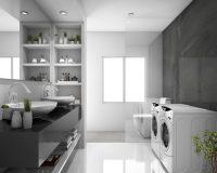 grey and white bathroom ideas,washing machine in the bathroom,modern double sink bathroom ideas,tiles in bathroom laundry room,how to choose bathroom floor tile,