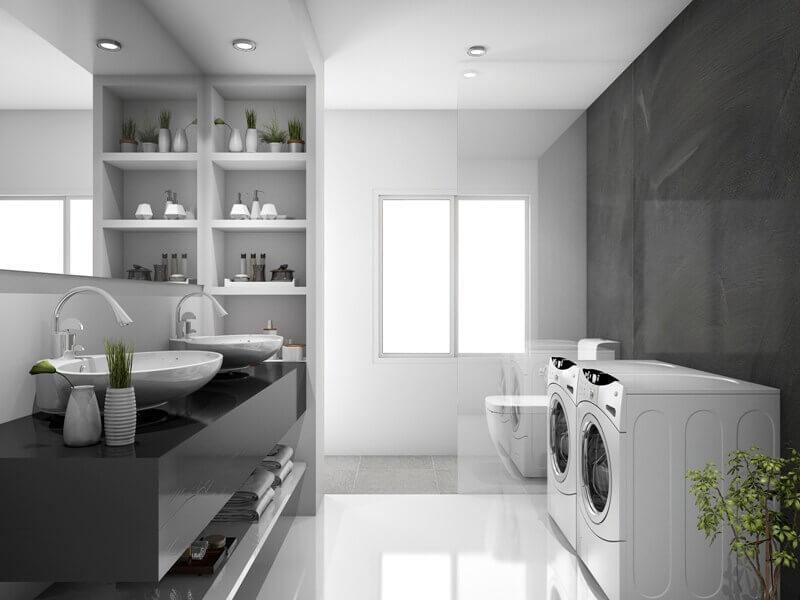 modern double sink bathroom ideas,tiles in bathroom laundry room,how to choose bathroom floor tile,grey and white bathroom ideas,washing machine in the bathroom,
