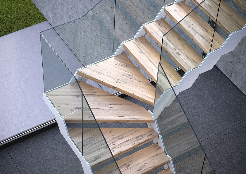 modular interior stairs,designer stairs for houses,escalier fontanot italia,wood and glass staircase design,glass stair panels,