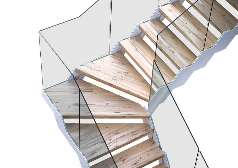 modular staircase for construction,designer staircase railings,wood staircase with glass,fontanot scale interne,glass and wood staircase design,