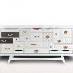 furniture design inspired by art,mondrian white sideboard,designer sideboard weiß,luxury white storage sideboard,furniture with many small drawers,