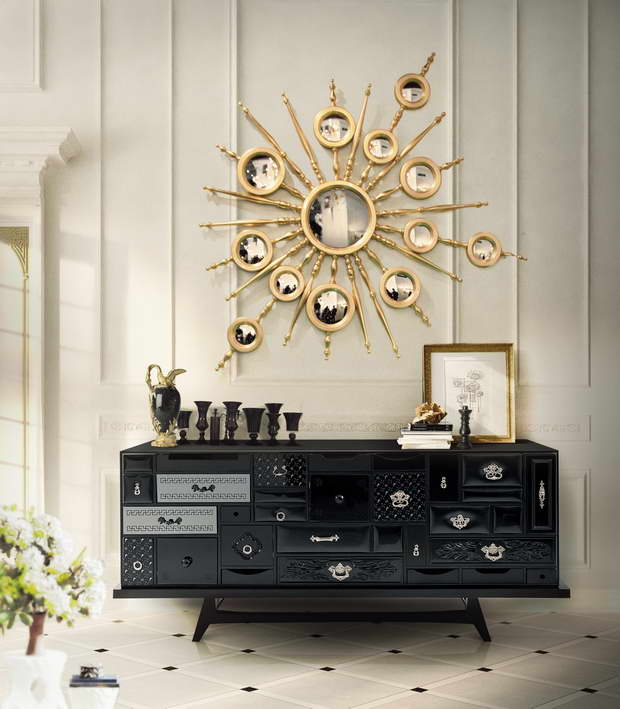 wall mirror sun design,luxury wall mirror sun shaped,furniture design inspired by art,mondrian black sideboard,furniture with many small drawers,