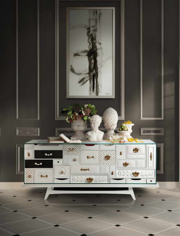 luxury white storage sideboard,furniture with many small drawers,furniture design inspired by art,mondrian white sideboard,designer sideboard weiß,