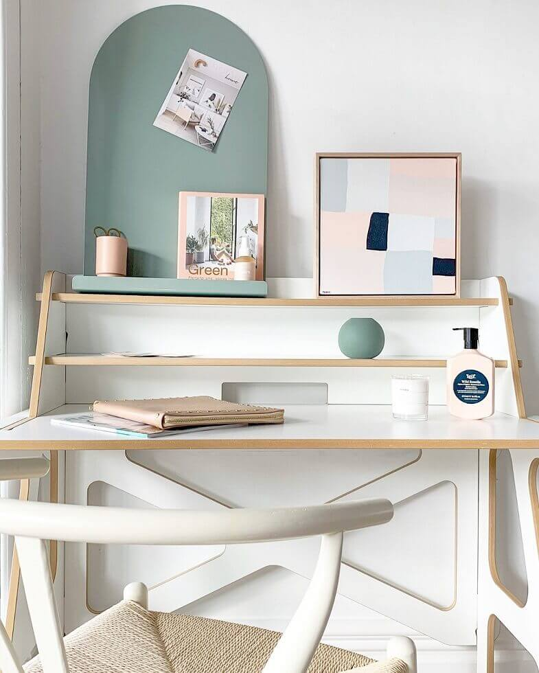 green and white home office,wood and white work desk,furniture for small home office,white work chair,greenery home office interior design inspiration,