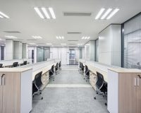white black office design,workspace for many employees,ergonomic office equipment,ceiling lighting ideas for office,workplace design and productivity,