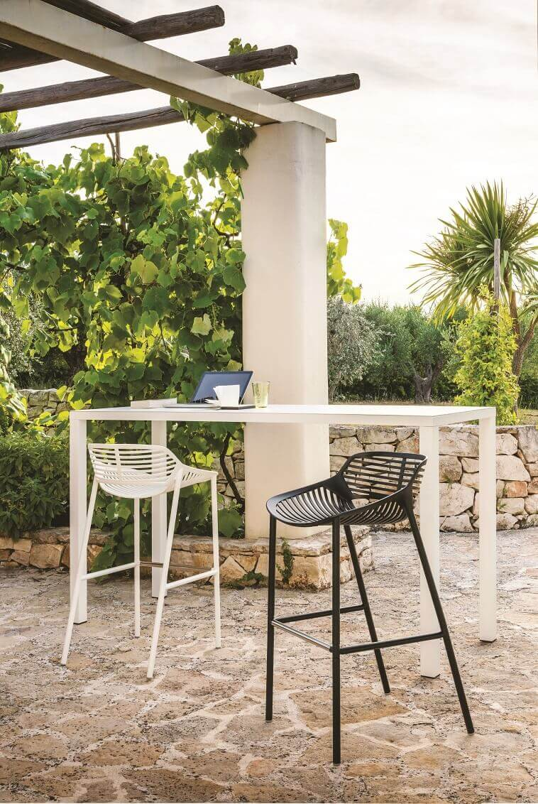greenery in workspace design,white and black outdoor chairs,home office in the garden,outdoor high top table and chairs,white outdoor bar height table and chairs,