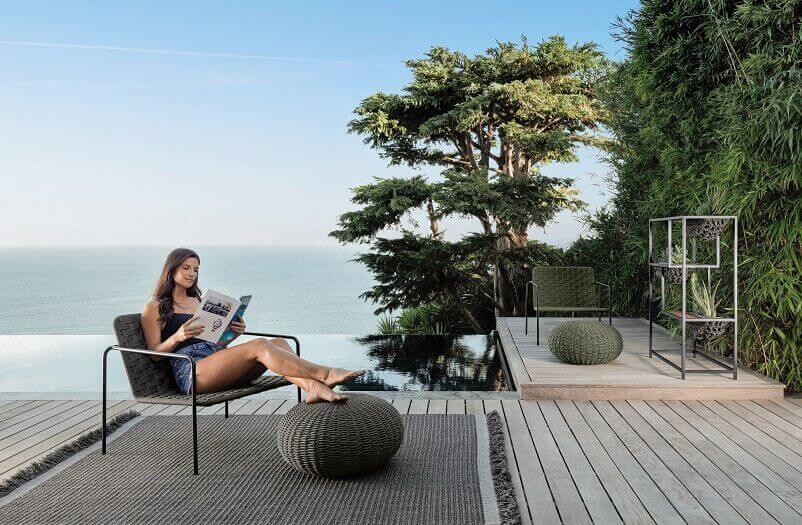 designer outdoor furniture brands,garden chair and footstool,outdoor workspace ideas,woman reading a book images,woman reading in the garden,