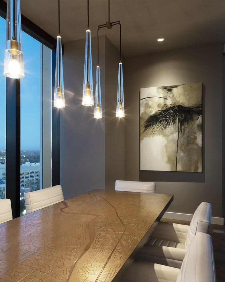artistic dining table designs,modern dining room with a view,designer pendant lights,white dining chairs,lighting ideas for dining room,