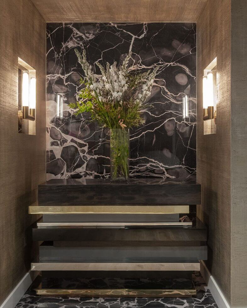 artistic lobby design,luxury entryway ideas,stainless steel bronze wood console,precious stone wall art,penthouse entryway design,