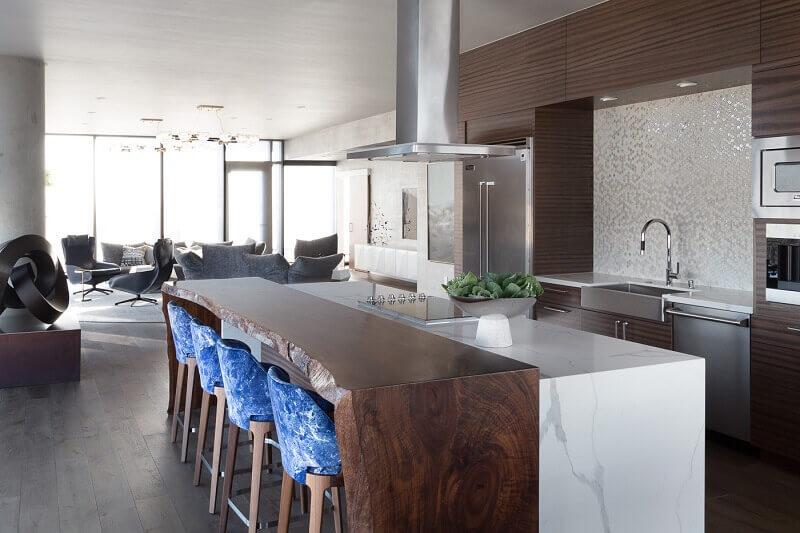 luxury kitchen designs,modern brown white kitchen,blue high chairs in kitchen,open concept living room kitchen,designer kitchen ideas,