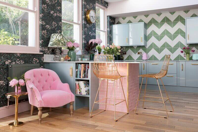 pink and green kitchen ideas,high copper chairs kitchen,creative workspace ideas home,pink sofa living room decor,colorful home office design inspiration,
