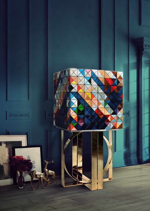 pixel cabinet boca do lobo,cabinet inspired by pixel,colorful cabinet with gold legs,creative furniture design ideas,luxury living room design images,