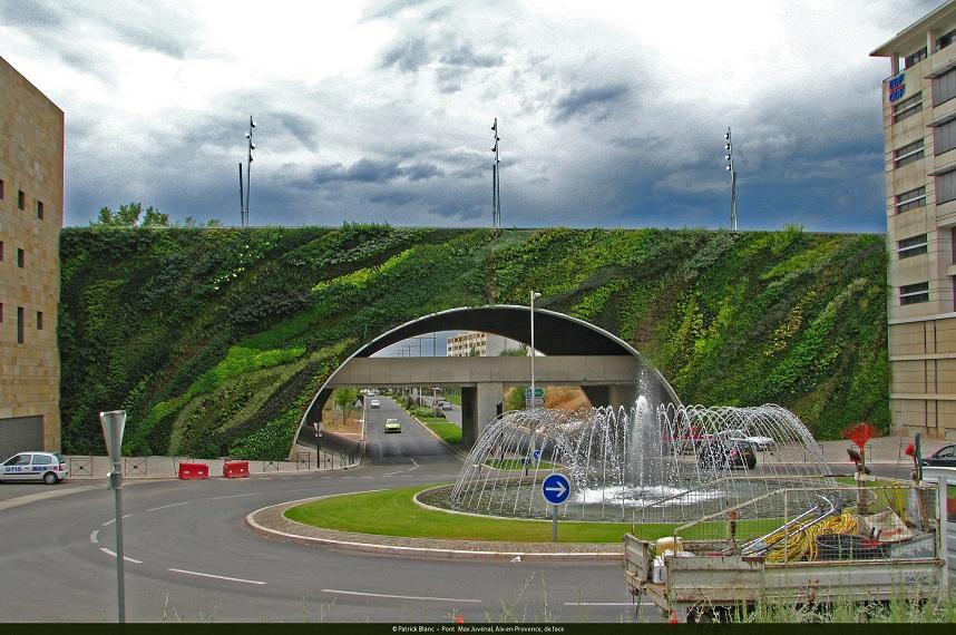 Pont Max Juvenal,Aix en Provence,france,Patrick Blanc,bridge design,france bridge,vertical garden,vertical garden ideas,vertical garden design,vertical flower garden,garden design,design,designer,designers,garden flowers,