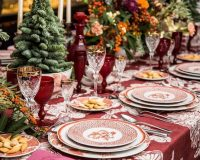 Christmas tree centerpiece for table,red white green festive table settings,green color in holiday room,red and white table plates,luxury holiday table ideas for families,