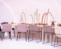 new trends in restaurants 2019,pink upholstered dining room chairs,hospitality design events 2019,lamp on a restaurant table,trendy restaurant interiors,