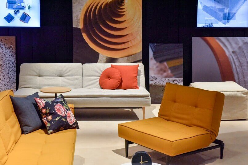 orange color sofa,living room trends 2019,trendy colours for living rooms,imm cologne Germany,design trends 2019 interior,