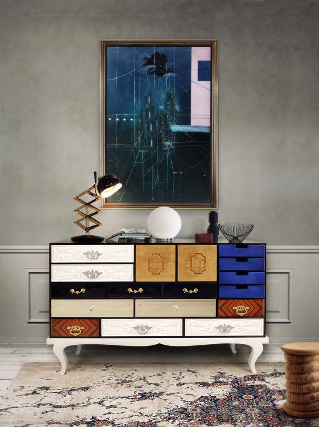 soho large sideboard,sideboard with multiple drawers,modern colorful sideboard,storage furniture for living room,drawers for luxury living room,