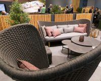 outdoor furniture trends 2019,international trade fairs in europe 2019,spoga gafa design trends,designer garden furniture,pink decorative cushions,