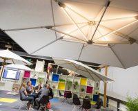 parasol design trends 2019,outdoor lighting fixtures,garden lighting trends,white parasol ideas,outdoor design trends,