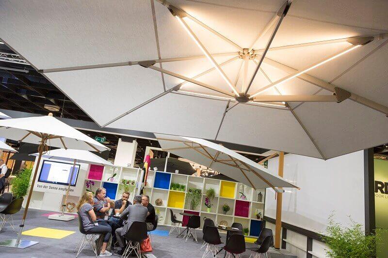 luxury parasol garden,outdoor lighting placement,garden lighting trends,parasol design ideas,outdoor design trends 2019,