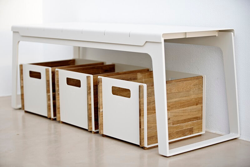 storage ideas for entryway,teak and white boxes,organize your home with boxes,storage boxes made of wood,teak boxes storage,