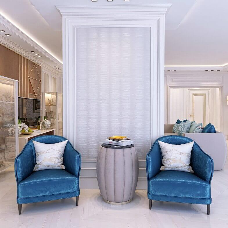 blue colored furniture,luxury blue velvet sofa,high end round side table,interior design projects,armchair design trends,