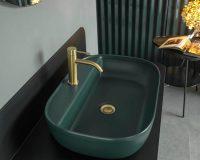 green washbasin ceramic,green bathroom sink ceramic,colorful wash basin,green bathroom sink with gold taps,scarabeo ceramiche srl fabrica di roma,