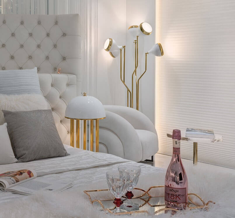 master bedroom luxury bedroom interior design,romantic bedroom decoration for couple,bottle of wine and two glasses,white and gold bedroom decor ideas,luxury bedroom lighting ideas,