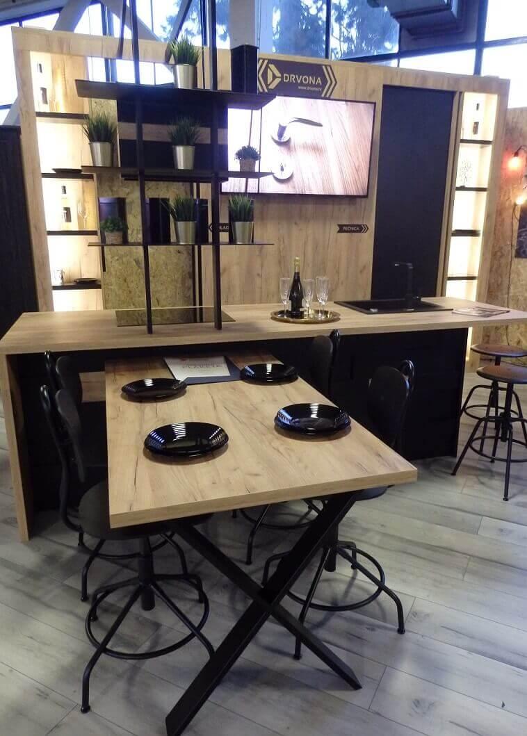 wooden contemporary kitchen design,wood kitchen island dining table,lit shelves in kitchen instead of cabinets,drvona kuhinje,moderne kuhinje od drveta,