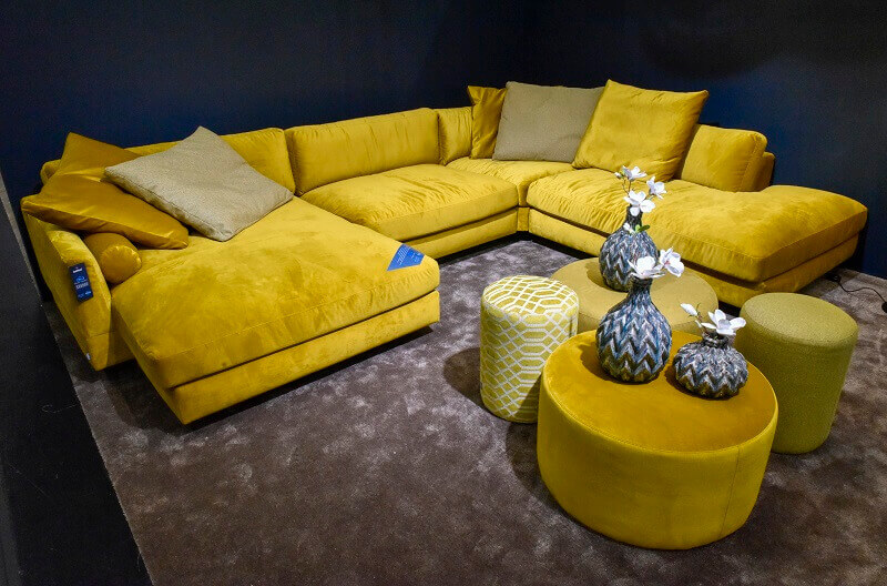 yellow sofa design ideas,trendy colors in 2019,imm cologne Germany,living room trends,interior design trends 2019,